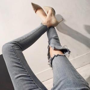韩版新款修长美腿做旧破洞乞丐瘦腿牛仔裤磨白破洞九分裤7266#