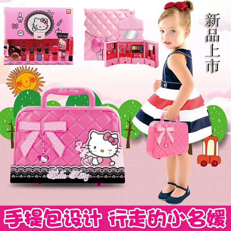 凯蒂猫化妆盒女童儿童化妆品公主彩妆盒口红套装安全无毒女孩玩具