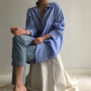 現貨 原版料 韓國 chic 簡約 襯衫 條紋 連衣裙