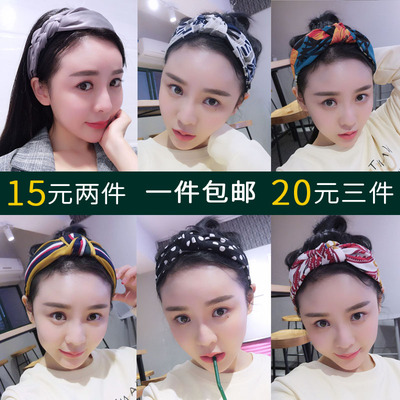 Hair Accessories Korean version new simple cross knotted headband wide-brimmed floral sweet hair clip