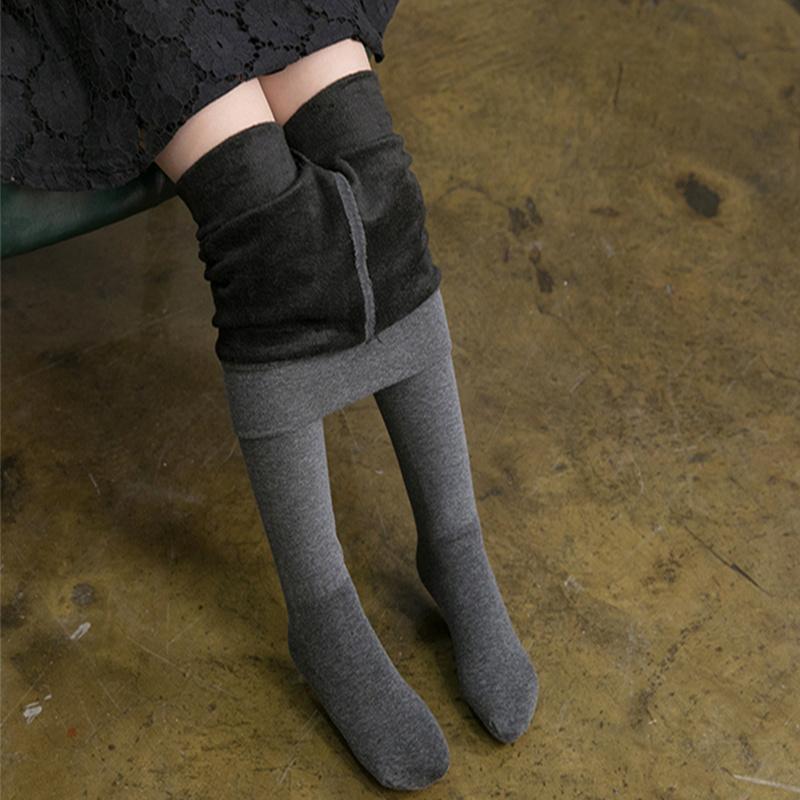 儿童连裤袜秋冬款加绒女童打底裤加厚纯棉宝宝连体袜中大童长筒袜