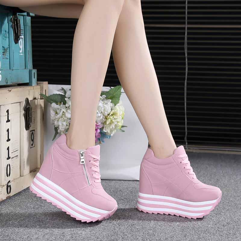 2017春款韩版超高跟12CM内增高女鞋厚底松糕跟系带休闲运动鞋单鞋