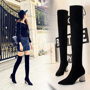 歐美風長筒女靴子粗跟高跟尖頭性感顯瘦夜店修腳過膝長靴黑色女靴