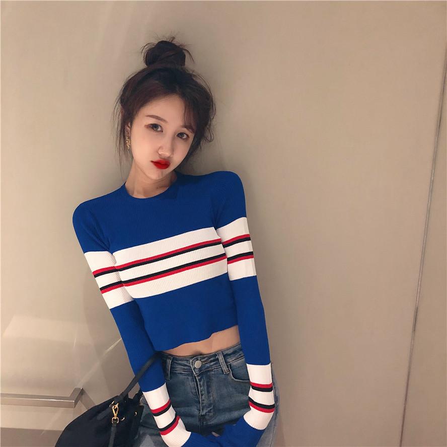 实拍1174#复古小香风条纹短版针织衫长袖T恤女