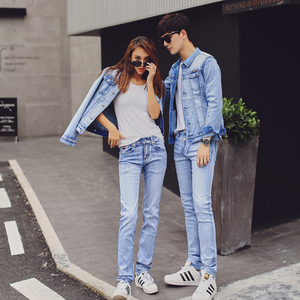 2018新款春秋浅蓝情侣装牛仔外套短款修身韩版潮弹力宽松一套套装