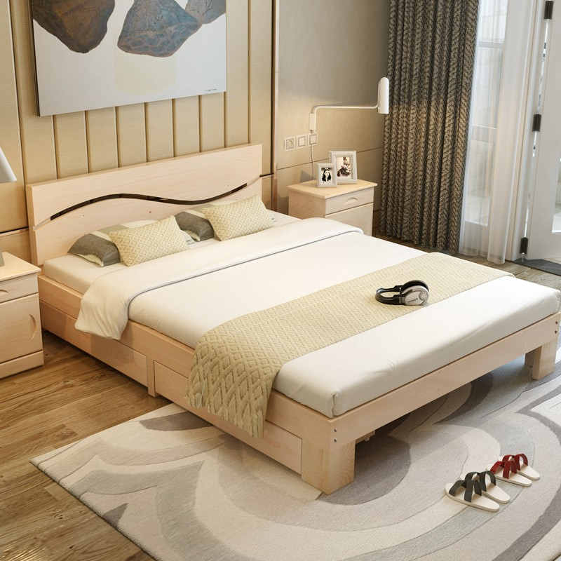 Shipping wood simple bed 1.5 tatami bed 1.8 meters double bed pine 1 meters 1.2 meters children bed single bed