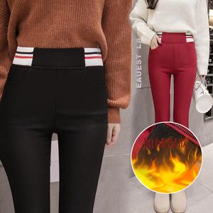 (实拍)加厚女裤冬季加绒打底裤女外穿高腰黑色小脚铅笔保暖长裤