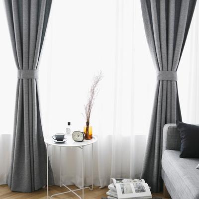 北欧现代简约纯色棉麻风格窗帘 成品定制客厅卧室飘窗窗帘遮光布