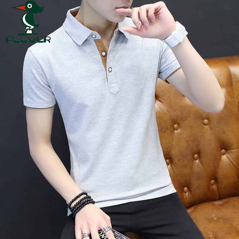 啄木鸟夏季新款男士短袖t恤纯棉翻领POLO衫男装体桖衬衫领薄款