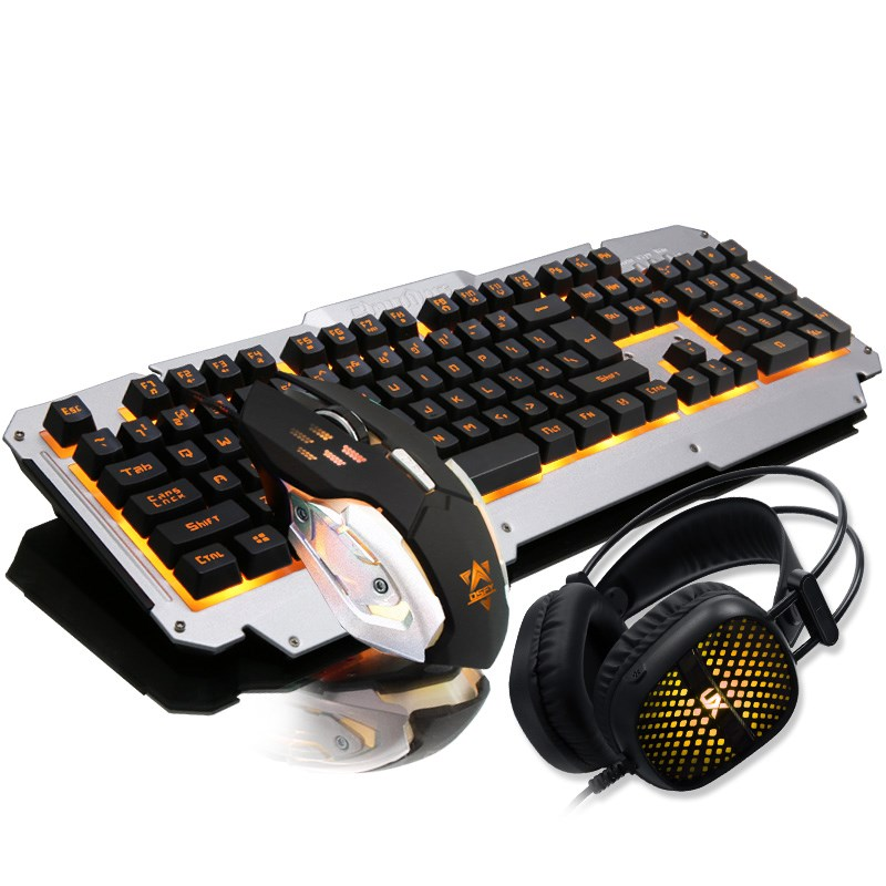 Wrangler semi mechanical keyboard and mouse headset three suit gaming mouse desktop computer keyboard silent mute