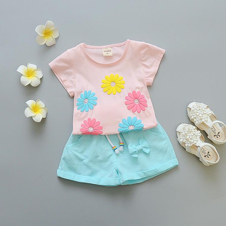 五朵菊花短袖套粉衣蓝裤
