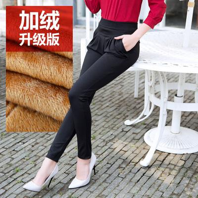 加绒加厚女裤高腰哈伦裤宽松外穿休闲裤女士大码冬季工作小脚长裤