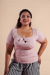 现货实拍 外贸女装胖妹妹新款 圆领纯色蝴蝶结修身短袖T恤 E922#