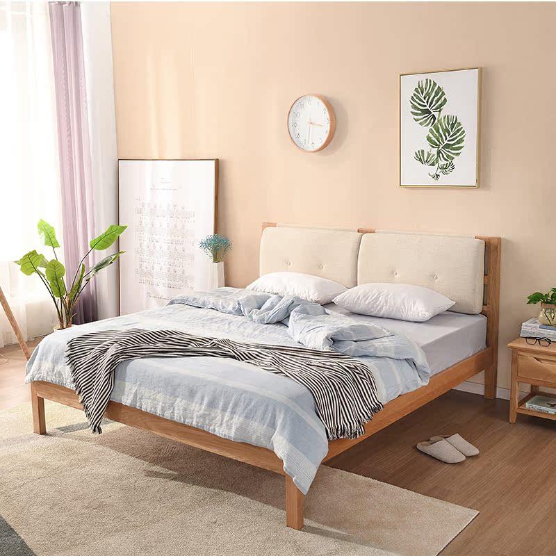 Solid wood bed master, modern simple 1.5 meters, 1.8 meters double bed, oak oak wedding bed, soft bed