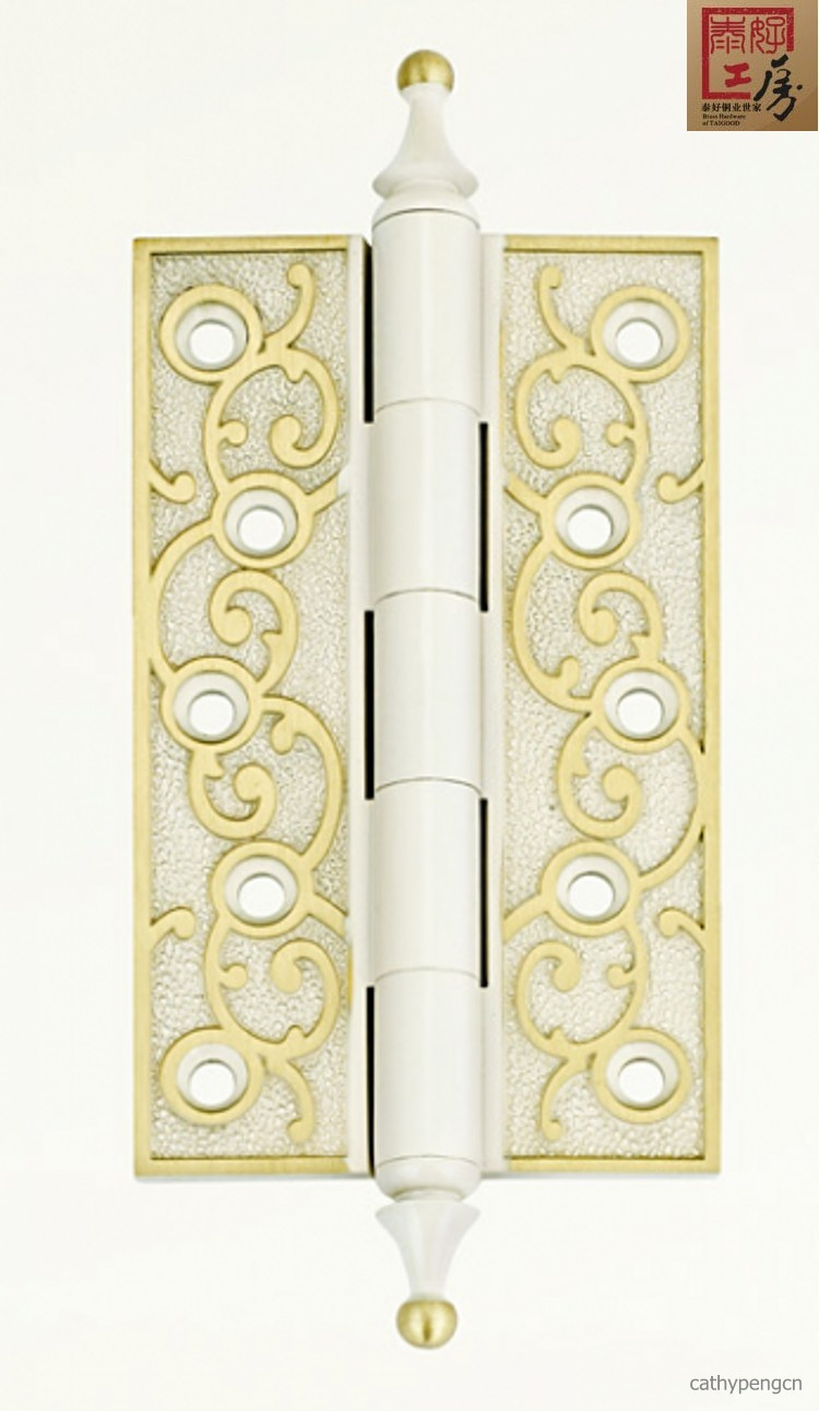 Thai Thai good good studio brass lock simple European style 5 inch copper thick mute hinge TH-HG311 white
