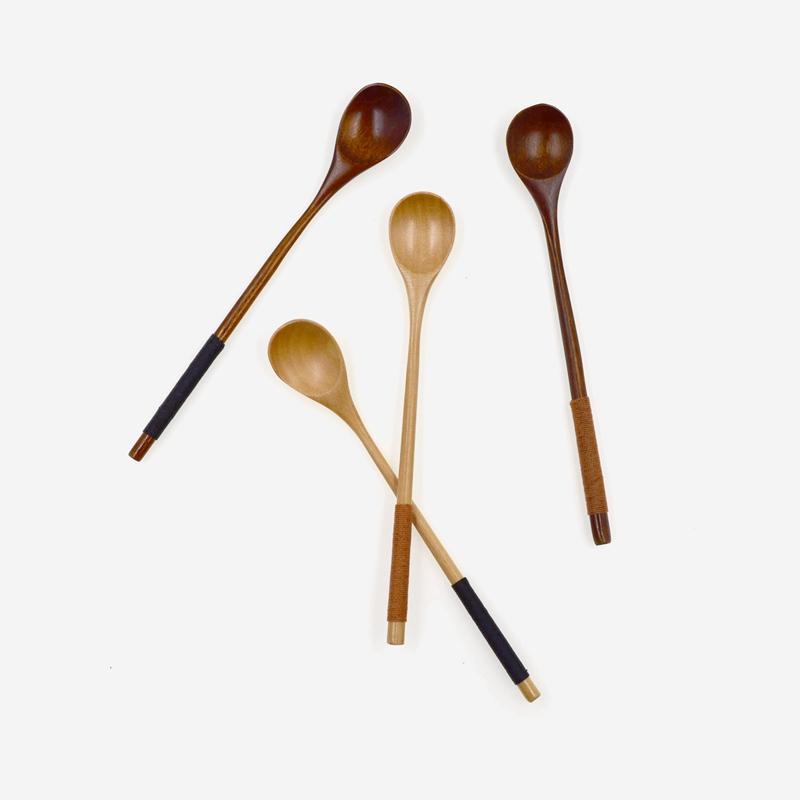 淺色-卡其色纏線木說 日式纏線攪拌勺 創意長柄木勺蜂蜜攪拌勺甜品咖啡勺原木餐具