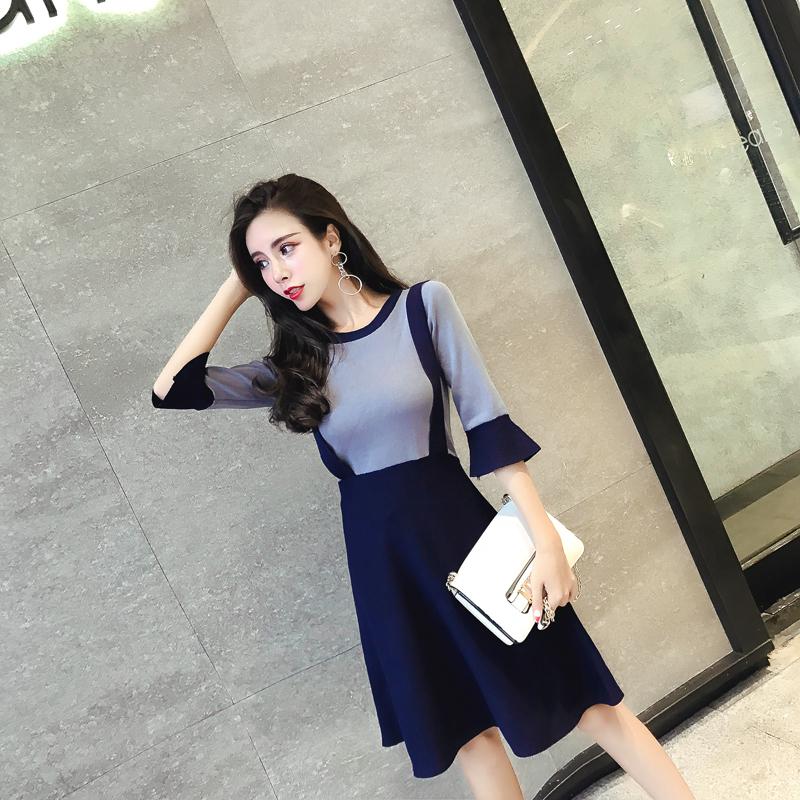 天天特價氣質針織連衣裙女喇叭袖韓版修身拼接七分袖假兩件背帶裙