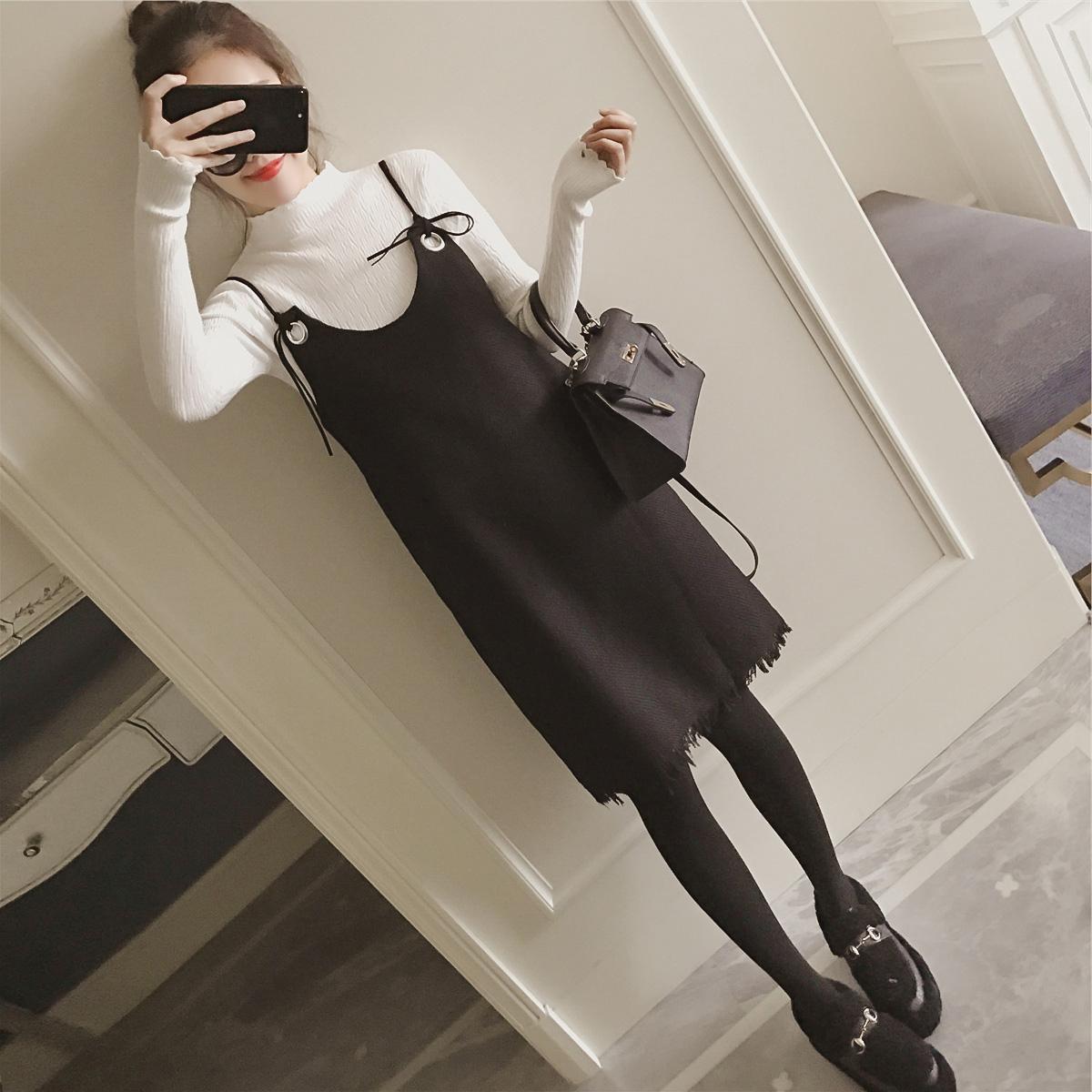 2017秋季新款韩版秋款背带裙秋装两件套毛衣时髦套装女吊带连衣裙