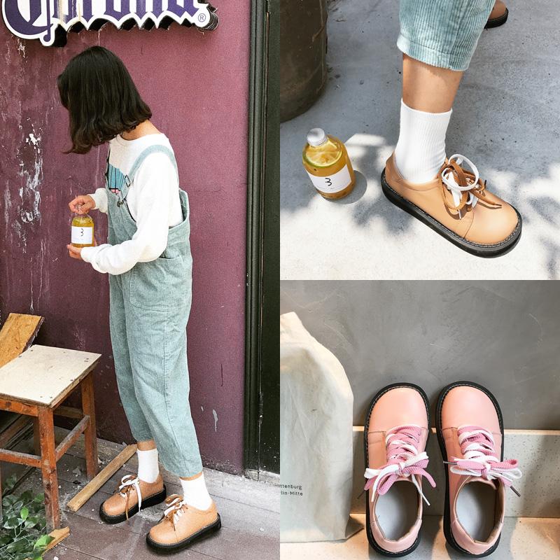 日系软妹娃娃鞋女学院风可爱大头鞋女学生秋季百搭原宿小皮鞋白鞋