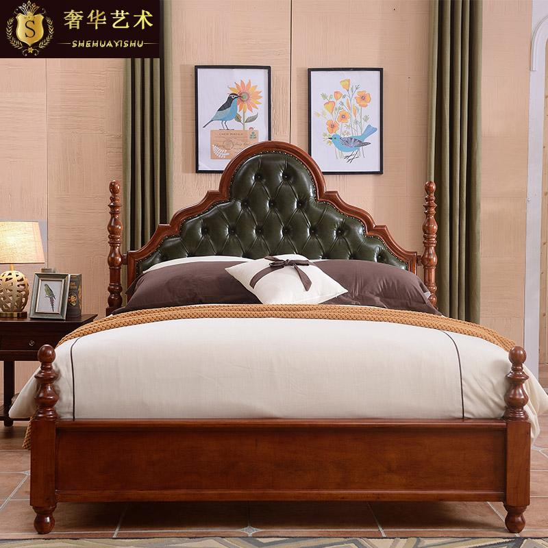 American solid wood bed 1.8 meters double simple European style wedding bed oil wax Retro Leather oak furniture bedroom