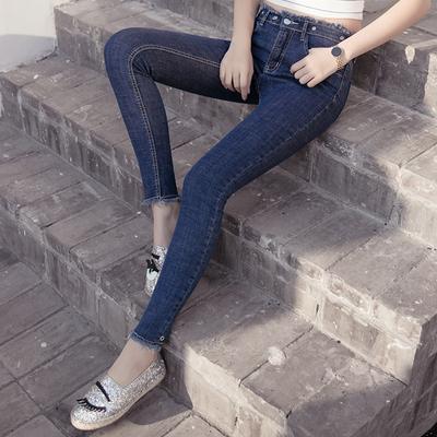 实拍5019# 春季新款韩版紧身高弹力个性腰头牛仔铅笔裤女