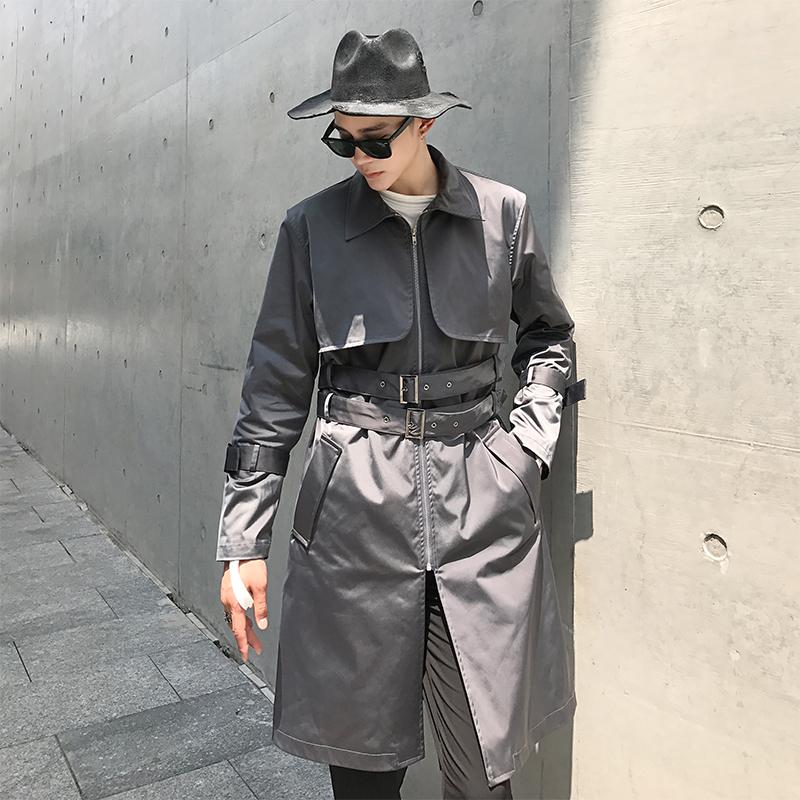 чарли UNCLE оригинални през есента и зимата на ревера двоен пояс от дълго палто палтото тенденция красив палто