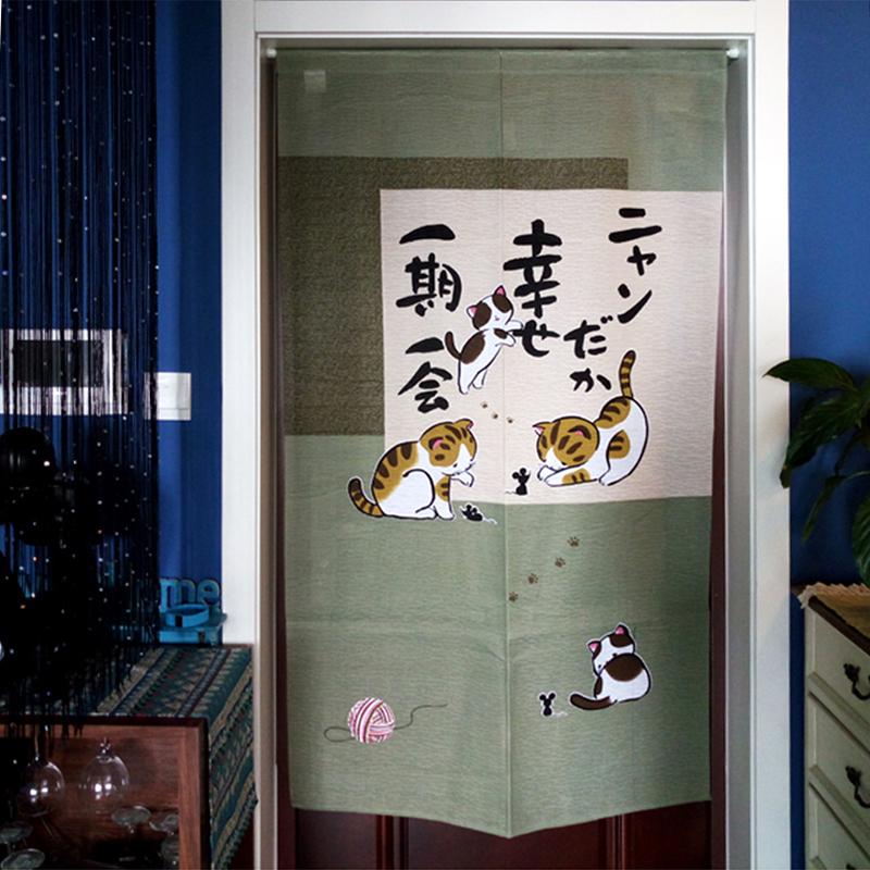Le chat drôle d'impression japonais de polyester rideau de la chambre intérieure de l'ombrage de quatre saisons de tissu semi - fini le rideau d'eau