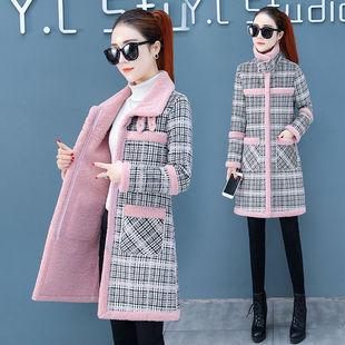 格子加厚加绒中长款棉衣外套女2019秋冬款仿羊羔毛流行呢子大衣