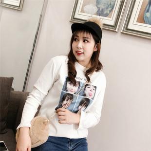 猫家大码女装韩版18春上新个性BB表情印花T恤学生