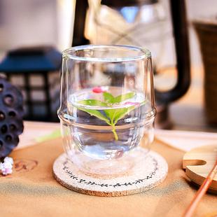创意简约双层隔热玻璃杯 圆形透明咖啡杯果汁杯 耐冷热茶水饮料杯