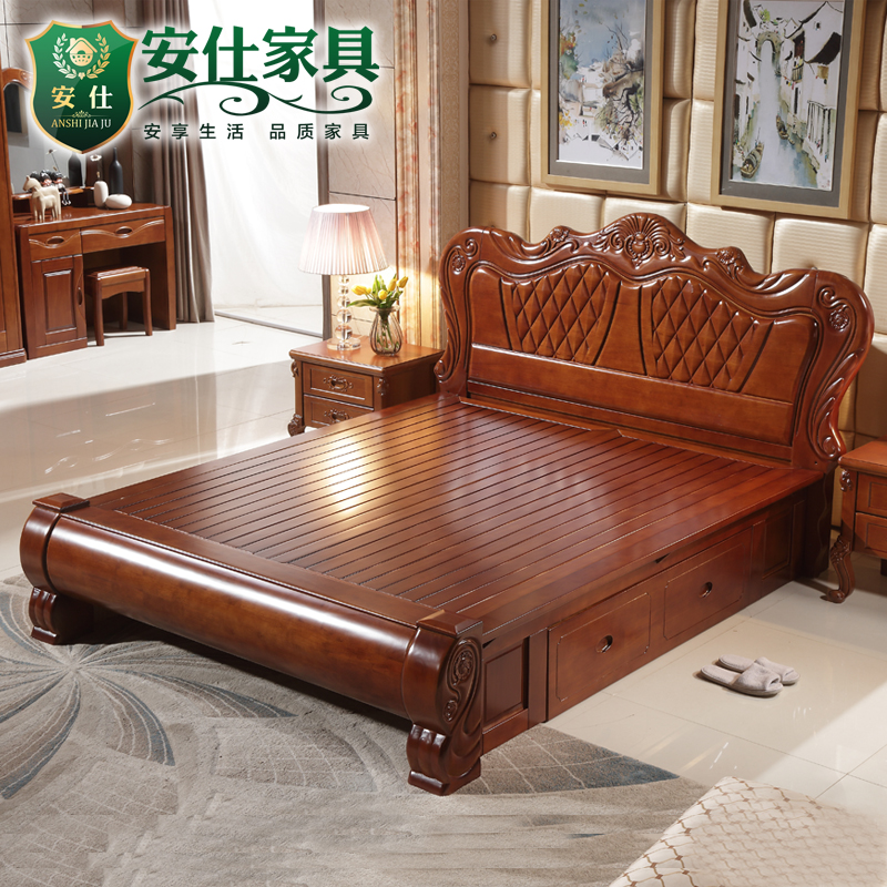 European style bed, all solid wood bed, American double bed, 1.8 meters high box storage bed, Chinese solid wood bed, master bedroom, oak bed