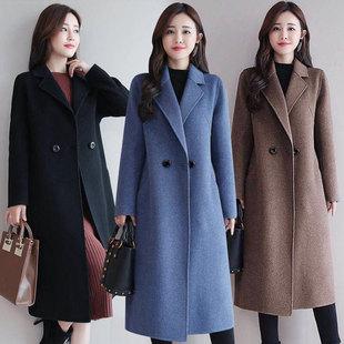 毛呢大衣女中长款2019新款韩版秋季纯色大码时尚修身呢子外套女潮
