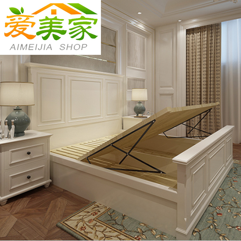 Promotion of American solid wood bed, white storage, high box bed, 1.5 meters, 1.8 meters, Princess double bed with bedroom wedding bed