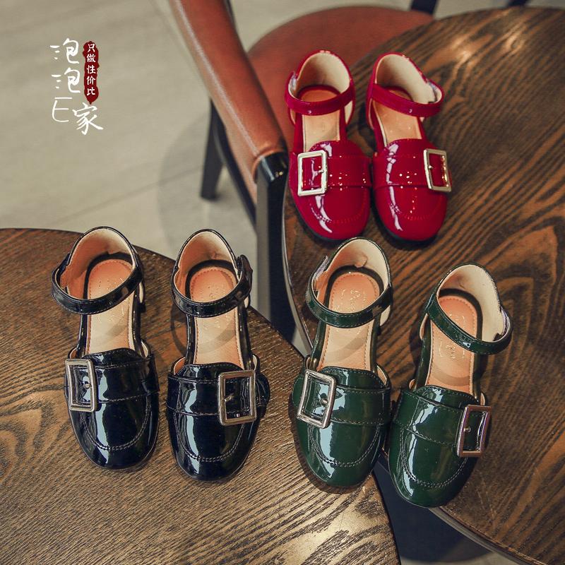 2017夏季新款亮皮平底包头公主鞋单鞋半凉鞋春款女童皮鞋儿童鞋子