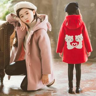 女童呢子大衣儿童毛呢外套中长款2019新款女大童洋气时尚夹棉秋冬