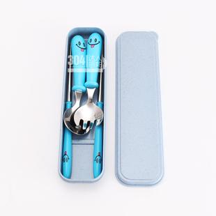 304不锈钢儿童餐具套装卡通可爱宝宝勺子叉子筷子盒子便携4件套