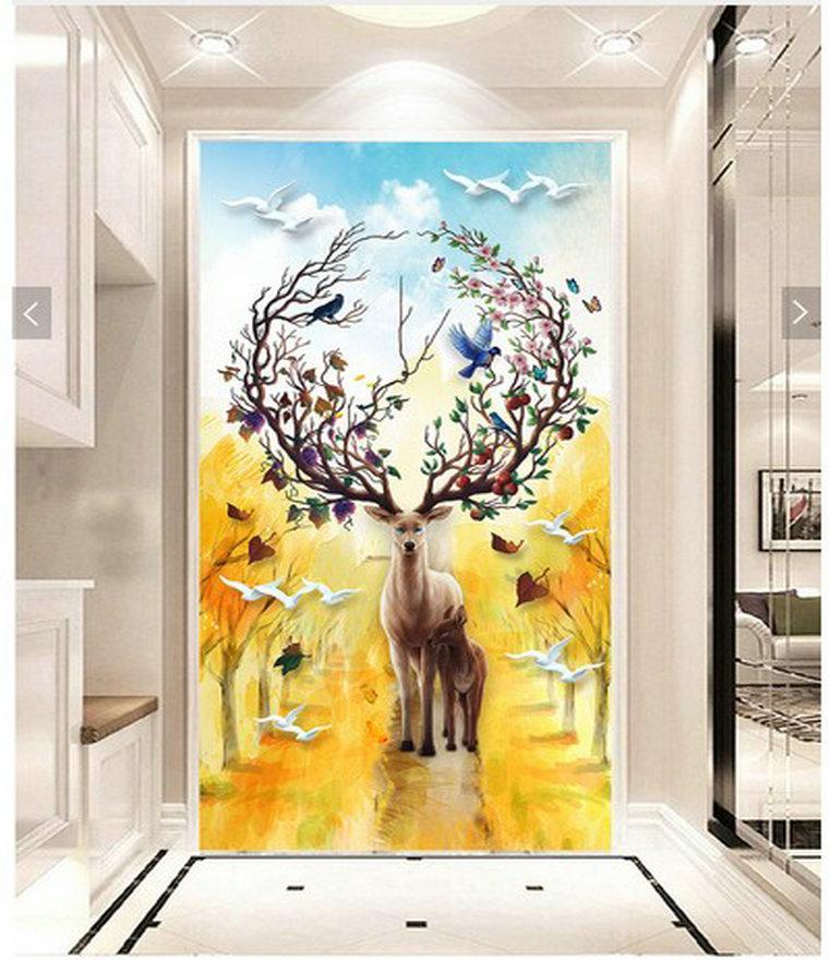 加厚無防布現代簡約油畫浮雕立體麋鹿3d壁畫玄關背景墻壁紙走廊歐式墻紙墻布