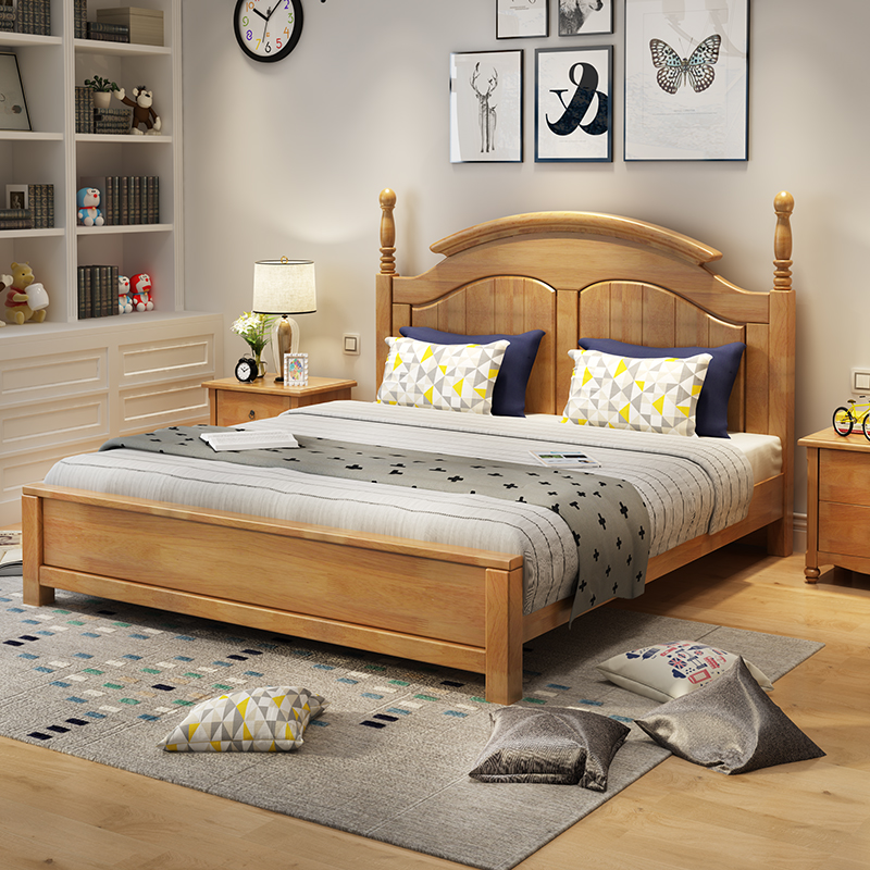 All solid oak wooden bedroom furniture Double Bed Suite combined single bed 1.5 meters double bed 1.8m