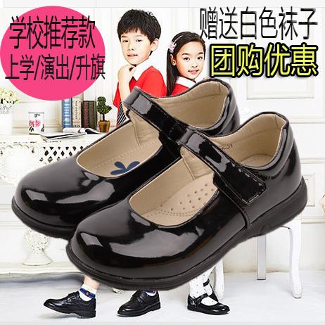 儿童黑色小皮鞋女孩公主演出单鞋春秋中大童学生表演校服鞋女童鞋