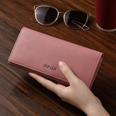 丹德立女士长款钱包软皮学生女钱夹薄2018新款搭扣手机包简约皮夹