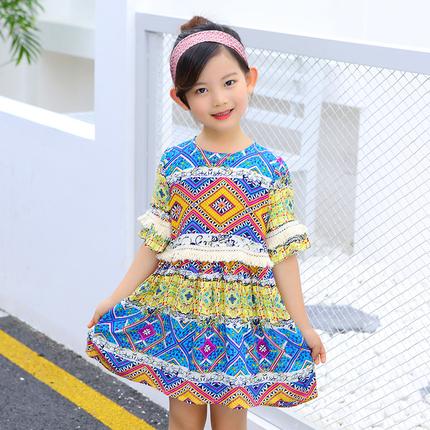 女童民族风裙子女孩夏装儿童2018新款童装洋气宝宝棉布公主连衣裙