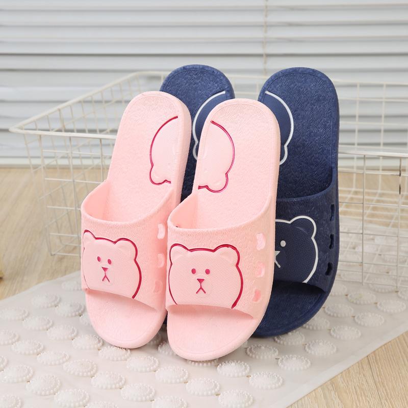 拖鞋女夏浴室防滑洗澡托鞋兔子小熊家居室内情侣厚底居家凉拖鞋男