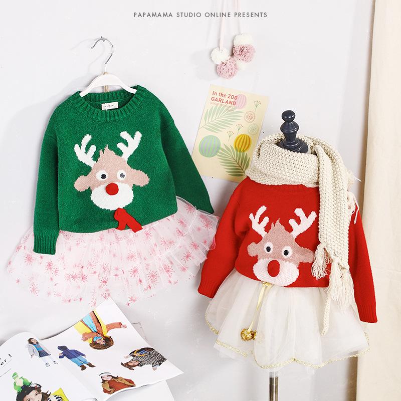 韩国品牌女童装秋冬圣诞节小鹿毛衣羊毛儿童女宝宝套头针织衫衣服