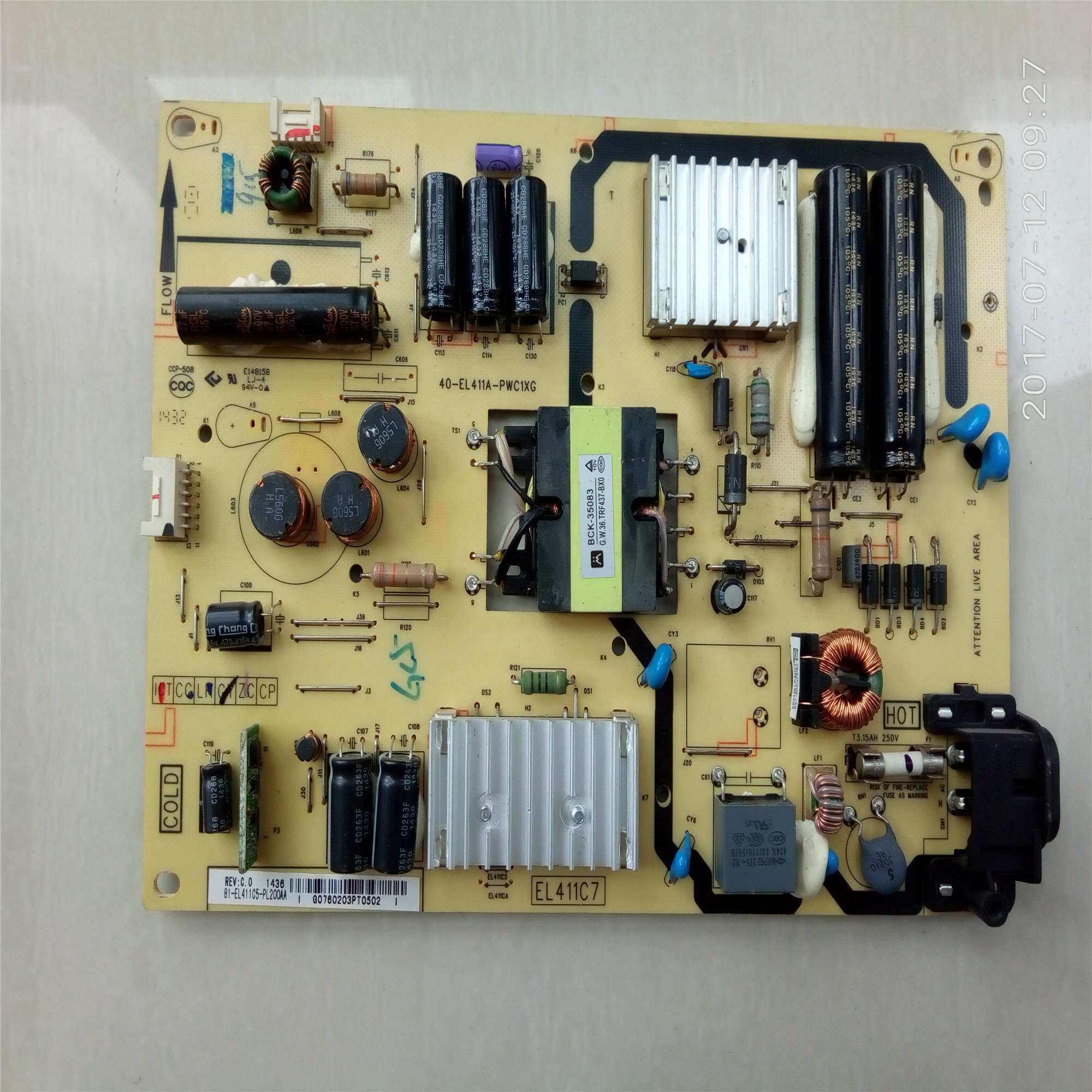 TCLL48F3700A48 inch LCD TV LCD power board motherboard, high voltage power supply board has J0846