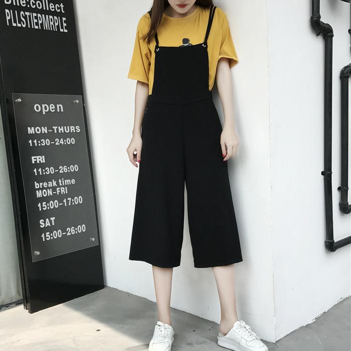 2017夏季女裝韓版時尚文藝寬松休閑闊腿背帶褲女大碼七分連體褲潮