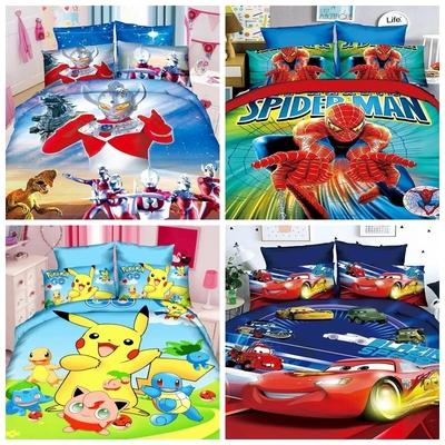 卡通儿童床上用品四件套男孩奥特曼床单被套三件套1.2m学生蜘蛛侠