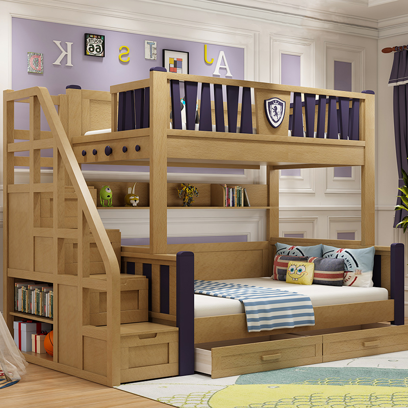 Oriental furniture solid wood bunk bed double bed Qiongzhong children bed beech boy girl combination bunk