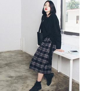 【女装】胖MM秋装新款大码女装韩版时尚套头卫衣格子半身裙宽松显瘦套装70