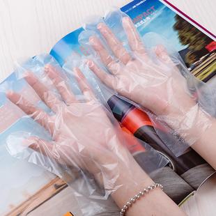 加厚均码一次性手套餐饮美发手膜食品吃龙虾透明塑料PE薄膜套透