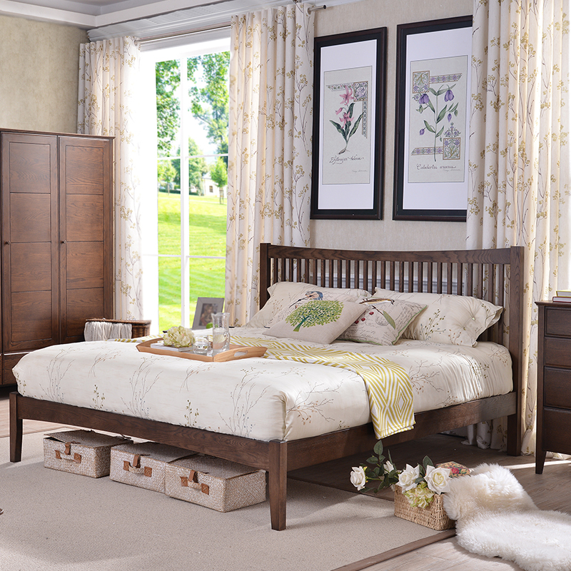 Solid wood bed American country 1.5 meters 1.8 meters of modern minimalist oak economic large-sized apartment double bedroom bed